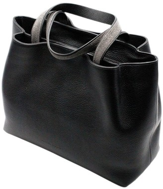 Fabiana Filippi Inga Handbag With Double Handles With Monili And Zip Closure And Double Compartments Measuring 35 X 27 X 15 Cm With Jewelry On The Sho