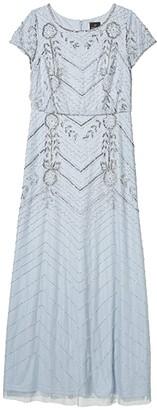 Adrianna Papell Long Beaded Blouson Evening Gown (Glacier) Women's Dress