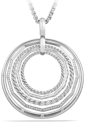David Yurman Stax Sterling Silver Large Pendant Necklace with Diamonds