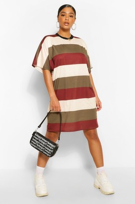 boohoo Plus Stripe Oversized T-Shirt Dress
