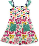 Penelope Plumm Girls' Casual Dresses - Peach Puff & Dark Pink Hearts Floral Pocket Ruffle A-Line Dress - Toddler & Girls