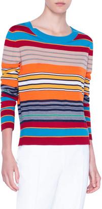 Akris Punto Striped Ribbed Merino Sweater