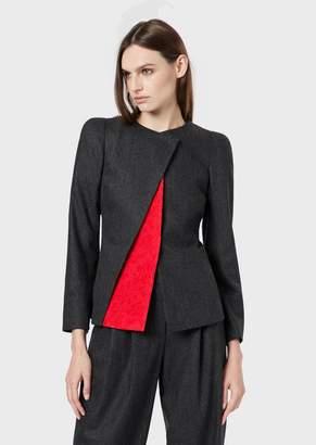 Giorgio Armani Felt Jacket With An Asymmetric, Contrasting Triangle