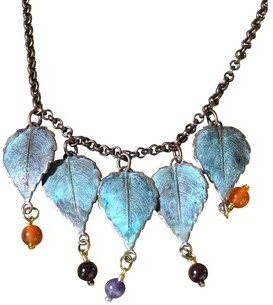 Elaine Coyne Galleries Handmade Patina Leaves Necklace - Copper Chain - Gemstones