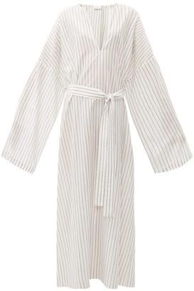 Raey Wide-sleeve Striped Sheer-cotton Beach Dress - White Stripe