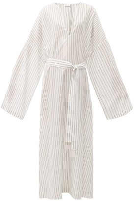 Raey Wide-sleeve Striped Sheer-cotton Beach Dress - Womens - White Stripe