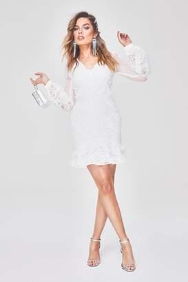 boohoo Premium Lace Chiffon Ruffle Mini Dress
