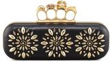 Alexander McQueen Floral Stud Long Knuckle Box Clutch Bag, Black