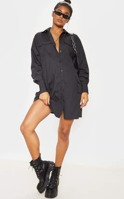 PrettyLittleThing Black Pocket Detail Long Sleeve Shirt Dress