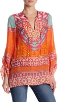 Hale Bob Long Sleeve Embellished Print Tunic