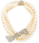 Valentino Faux Pearl Bow Necklace