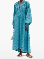 Dodo Bar Or Myra Floral-applique Cotton Maxi Dress - Blue
