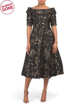 Short Sleeve Off The Shoulder Print Jacquard Dress