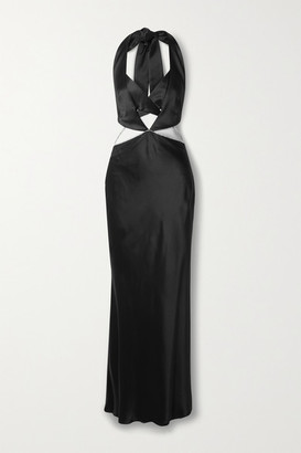 Michael Lo Sordo Alexa Crystal-embellished Cutout Silk-satin Halterneck Gown - Black