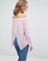 Asos Cotton Off Shoulder Top In Pink Stripe