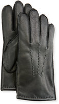 Neiman Marcus Three-Point-Stitch Leather Gloves, Black