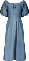 Sea Puff-sleeved lace-up cotton-chambray dress