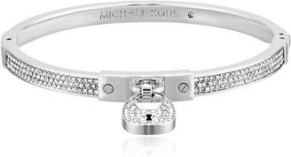 Michael Kors Heritage Padlock Silver-Tone Bangle Bracelet