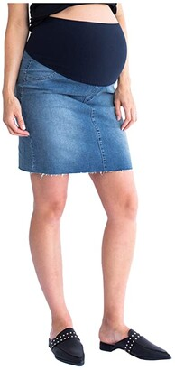 Angel Maternity Maternity Denim Skirt (Blue) Women's Clothing