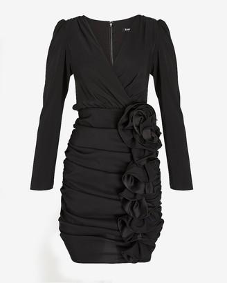 Express Ruched Ruffle Skirt Wrap Dress