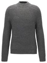 HUGO BOSS Wool Alpaca Ribbed Sweater Logan AM M Grey
