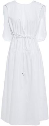 Tibi Zip-detailed Gathered Cotton-poplin Midi Dress