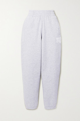 Alexander Wang Printed Melange Cotton-blend Jersey Track Pants - Light gray
