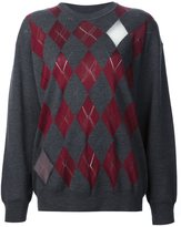 Alexander Wang argyle pullover with sheer intarsia diamonds