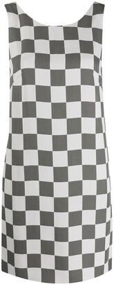 Emporio Armani Checkerboard Print Sleeveless Shift Dress