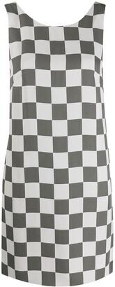 Emporio Armani Checkerboard Print Sleeveless Shift Dress
