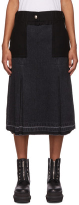 Sacai Black Denim and Wool Combo Skirt