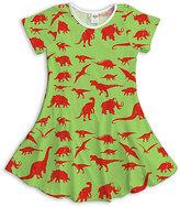 Urban Smalls Green & Red Dinosaur Dress - Toddler & Girls