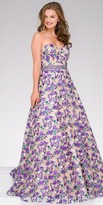 Jovani Strapless Embroidered Floral Print A-line Evening Dress