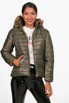 boohoo Harriet High Shine Faux Fur Hood Padded Coat
