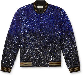 Saint Laurent Degrade Sequinned Wool Bomber Jacket