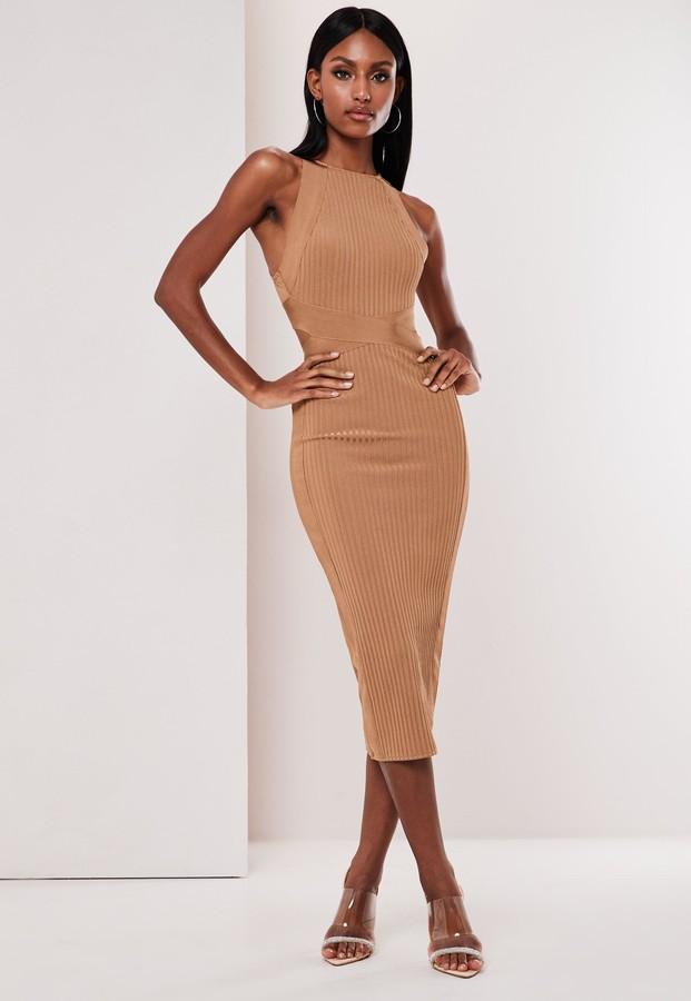 Missguided Tall Premium Camel High Neck Bandage Midi Dress