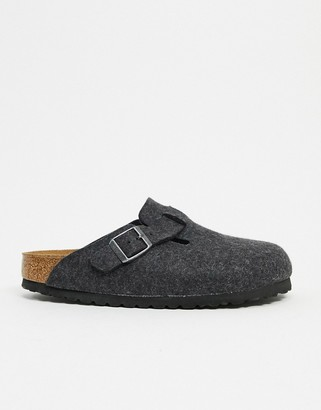 Birkenstock Boston clogs in grey felt