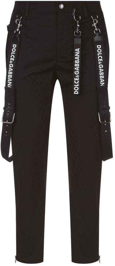 Dolce & Gabbana Stretch Cotton Trousers with Braces