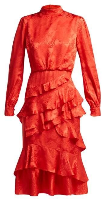 Saloni Isa Floral Jacquard Silk Dress - Womens - Red