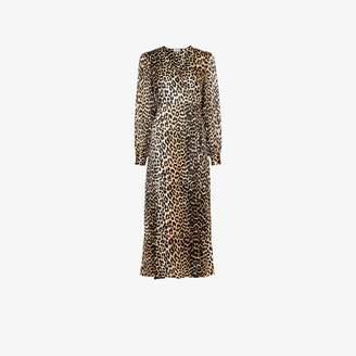 Ganni Black, Brown And White Womens Brown Leopard Print Silk Wrap Dress