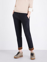 Brunello Cucinelli Velvet-cuff stretch-cotton jogging bottoms