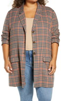 BB Dakota Plaid Boyfriend Blazer (Plus Size)