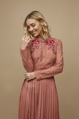 Little Mistress Casey Rose Gold Embroidered Pleated Midaxi Dress