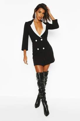 boohoo Contrast Collared Volume Sleeve Blazer Dress
