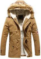 Hee Grand Men's Faux Fur Long Winter Trench Jacket Coat Hooded Parka Chinese L