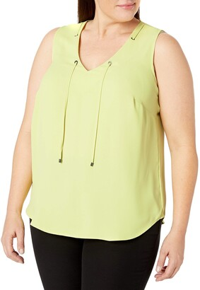 Kasper Women's Plus Size V Neck CDC Cami with Grommet Tie