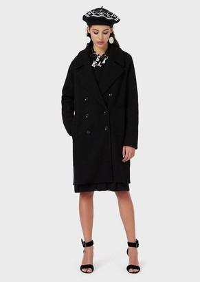 Emporio Armani Plain-Knit, Double-Breasted Coat In Boiled, Mixed Wool