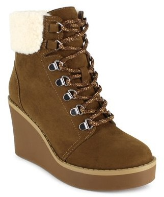 PORTLAND by Portland Boot Company Shearling Trim Lace Up Wedge Bootie (Women's)