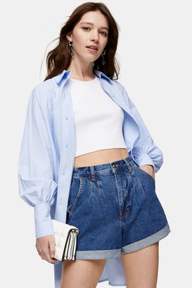 Topshop Rich Blue Pleated Roll Hem Mom Denim Shorts