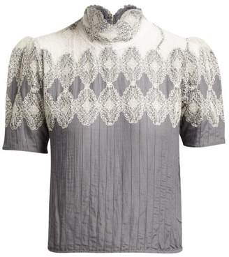 Thierry Colson Sabrina Lace-trimmed Cotton-blend Blouse - Womens - Grey White
